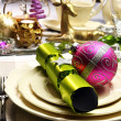 Lime Green and Pink Festive Christmas Table Setting Closeup — Stock Photo