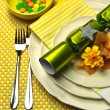 Yellow Festive Christmas Table Setting Closeup — Stock Photo