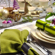 Lime Green and Pink Festive Christmas Table Setting — Stock Photo