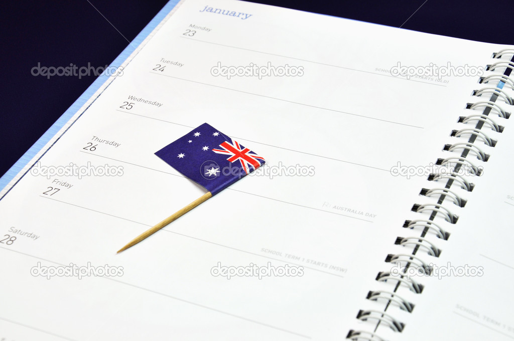 Australia Day January 26, Australian flag placed in journal diary marking the day. — Stock Photo #17171087