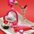 Valentine Day Cooking and Baking Accessories with Pink Rose (vertical) — Stock Photo