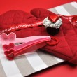 Valentine Day Cooking and Baking Accessories — Stock Photo