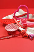 Red and Pink Valentine Day Cooking and Baking Accessories (vertical) — Stock Photo