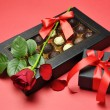 Valentine Day Presents - Chocolates, Red Rose and Gift — Stockfoto