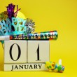 Happy New Year Calendar with Decorations — Stock Photo #17822449