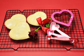 Baking Home-made Valentine Cookies with Accessories — Stock Photo