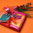 Orange theme bright color festive present. — Stock Photo