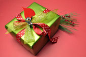 Red and green theme bright color festive Christmas present. — Stock Photo
