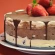 Chocolate Vanilla Layered Ice Cream Cake with Strawberries — Stock Photo