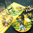 Green, Gold and White Party Table Celebrations — Stock Photo