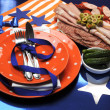 Royalty-Free Stock Photo: Football celebration party table setting in team colors.