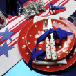Football celebration party table setting in team colors. — Stock Photo