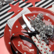 Football celebration party table setting in team colors. - 图库照片
