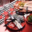 Football party table celebrations with food - Stock fotografie