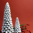 White Christmas Tree candles with pine and berries holiday still life — Stock Photo