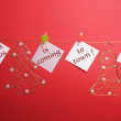 """Santa Claus is Coming to Town"" festive Christmas message on hanging signs — Stock Photo"