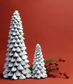 White Christmas Tree candles with pine and berries holiday still life — Foto de Stock
