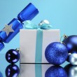 Blue theme Christmas tree, gift and baubles festive holiday still life. — Stock Photo #18439847
