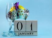 Blue theme Happy New Year, January 1, block calendar. — Stock Photo