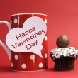 """Happy Valentines Day"" messages on red polka dot mug with chocolate cupcake — Stock Photo"