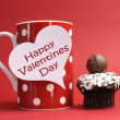 ������, ������: Happy Valentines Day messages on red polka dot mug with chocolate cupcake