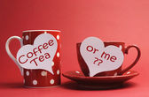 Valentine flirty message on red coffee and tea cups — Stock Photo