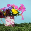 A Cup of Spring with beautiful colorful flowers in a pink polka dot mug — Stock Photo