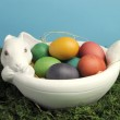 Happy Easter rainbow colored eggs on grass against a blue sky background. — Stock Photo #18756717