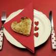 Red theme Valentine breakfast with heart shape toast with love hearts — Stock Photo