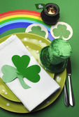 St Patrick's Day party table setting (portrait vertical orientation) — Stock Photo