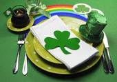 St Patrick's Day party table setting — Stock Photo