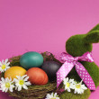 Pink theme Happy Easter still life with grass bunny rabbit with rainbow color eggs in a nest — Stock Photo