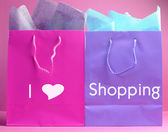 Retail therapy concept, with 'I Heart Shopping' message. — Stock Photo