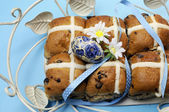 Easter Hot Cross Buns on Blue Background. — Stock Photo