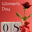 Pink theme calendar date for International Women's Day with title message. — Stock Photo