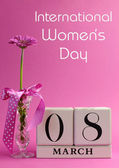 Pink theme calendar date for International Women's Day, with title message — Foto de Stock
