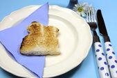 Blue theme Happy Easter breakfast table with bunny rabbit toast and egg. Close-up — Stock Photo