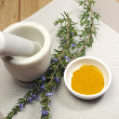 Royalty-Free Stock Photo: Rosemary herb and turmeric spice with mortar and pestle