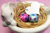 Pink and blue Easter eggs in white bunny bowl with heart gift tag on pink background. — Stock Photo