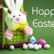 Happy Easter message with Bunny basket and eggs for Easter Sunday egg hunt. — Stock Photo #22809888