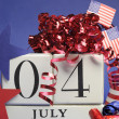 Fourth of July celebration, save the date white block calendar - vertical. — Stock fotografie