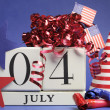 Fourth of July celebration, save the date white block calendar — Stock Photo