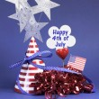 Happy Fourth 4th of July party table decorations - Stock Photo