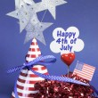 Happy Fourth 4th of July party table decorations — Stock Photo #23427204
