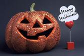 Diversión de color naranja feliz halloween calabaza — Foto de Stock