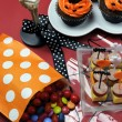 Happy Halloween party table - Stock Photo