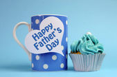 Happy Fathers Day special treat blue and white beautiful decorated cupcakes — Stock Photo