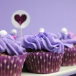 Mauve purple decorated cupcakes for children or teens birthday, or bachelorette, bridal or baby shower party function. Closeup with bokeh. — Stock Photo #24615025