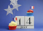 Calendário de feriado nacional de frança, 14 de julho, dia 14 de julho, dia da bastilha — Foto Stock
