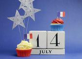 Frankrike medborgareferie kalender, 14 juli, fjortonde juli, nationaldagen — Stockfoto